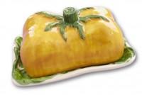 italienische Relief Keramik Butterdose gelb  Tomate NEU